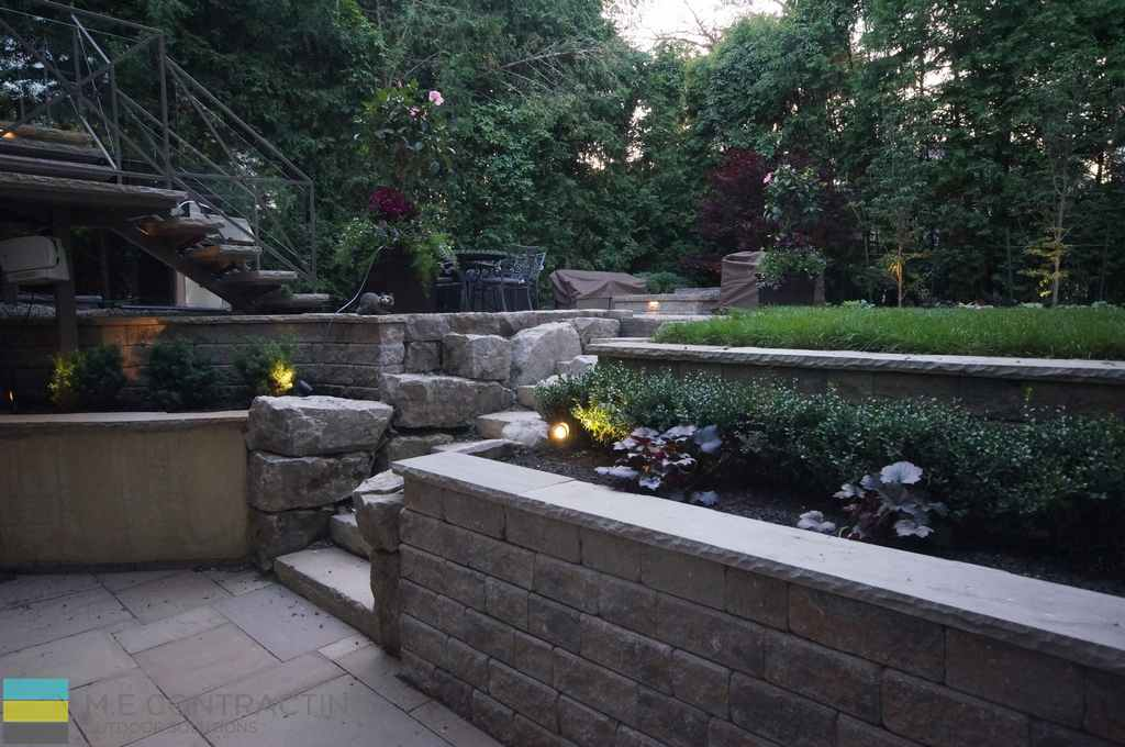 Complete Landscaping Project Walkout Basement Firepit