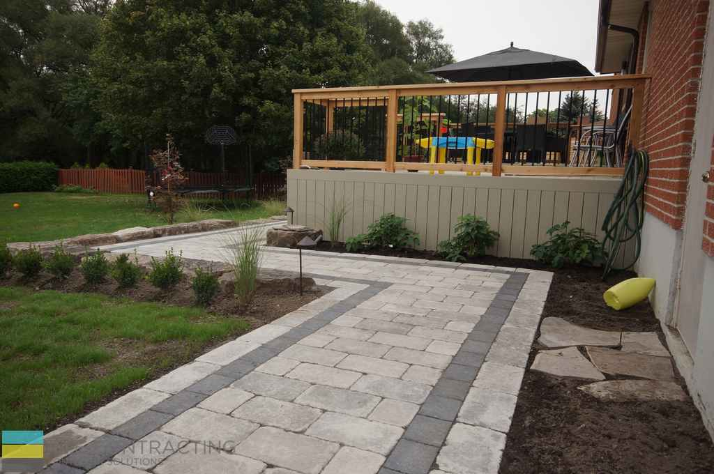 Patio Pvc Deck With Full Landscaping And Interlocking
