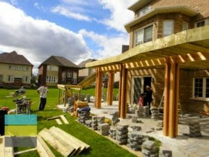 Landscaping, cedar pergola, stone interlocking patio, 6x6 posts