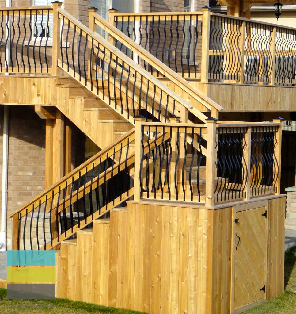Cedar deck, interlocking, landscaping, coping stone, steps with skirt and storage, lighting, cedar fence, aluminum railings, pergola