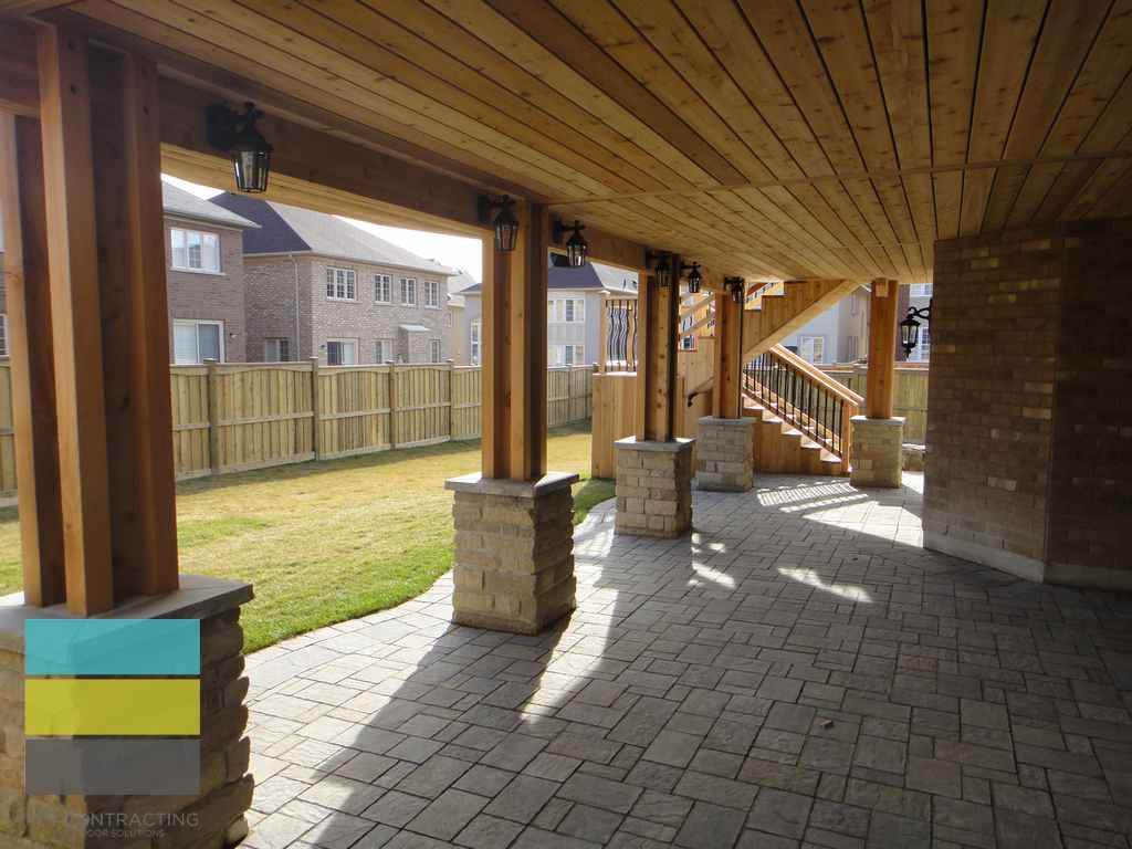 2 level cedar deck with wrought iron railings pergola and for Walkout basement backyard ideas