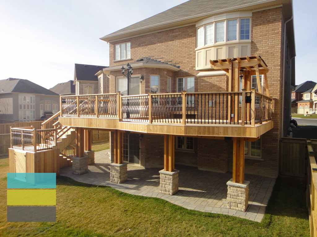 2 level cedar deck with wrought iron railings pergola and for Split level house plans with walkout basement