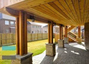 Cedar deck, interlocking, landscaping, coping stone, steps with skirt, lighting, cedar fence