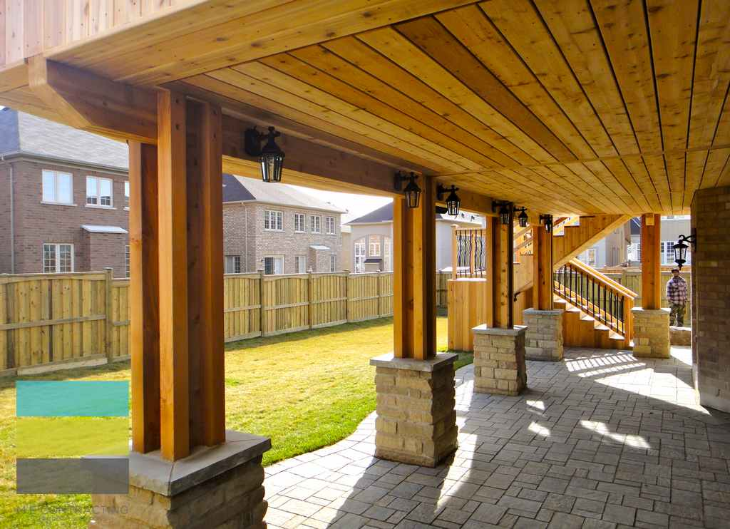 Cedar deck, interlocking, landscaping, coping stone, steps with skirt, lighting, cedar fence