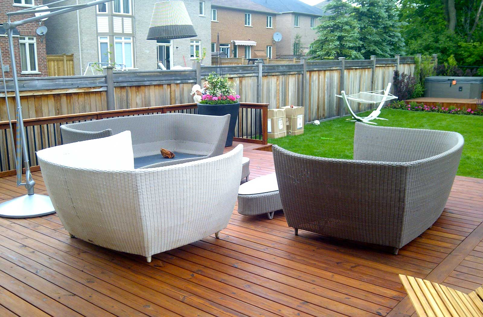 PVC deck, aluminum railings, landscaping, outdoor furniture, flower garden