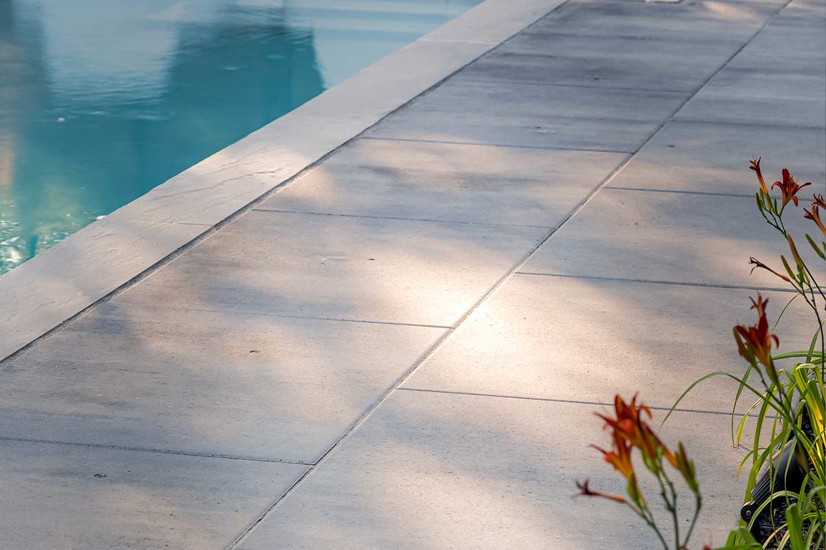 Close Up of Pool Deck Interlocking; Complete Landscape Design Project by M.E. Contracting
