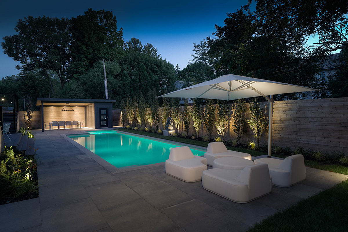 Complete Backyard Toronto Landscape Design Project; Featuring Concrete Pool Installation with Lighting Features, Privacy Fence, Interlocking & Gazebo by M.E. Contracting