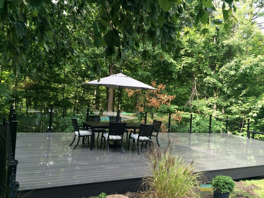 Composite deck with gazebo, aluminum railings with tempered glass and stainless steel clips