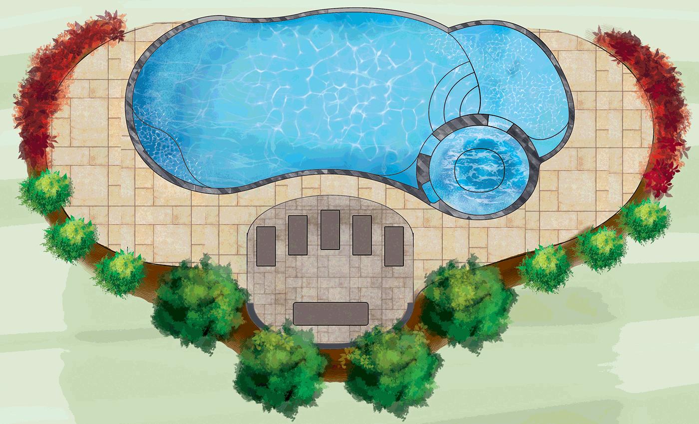 Artist's 3D rendering of Allure fibreglass pool