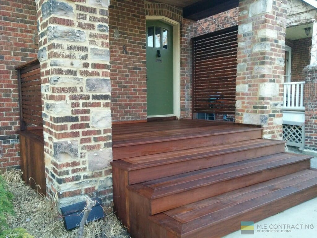 IPE deck material for stairs, front porch and privacy screen
