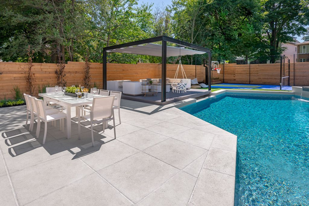 Landscape Design & Pool Construction Project; Featuring Sports Court, Pergola & Outdoor Fireplace