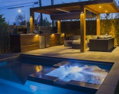 Pool Construction with Outdoor Kitchen and Interlocking