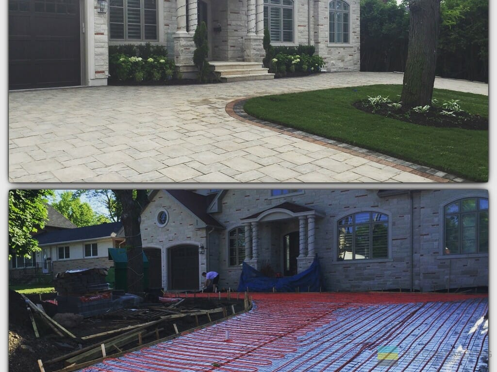 Landscaping project with heated driveway, interlocking, stone veneer