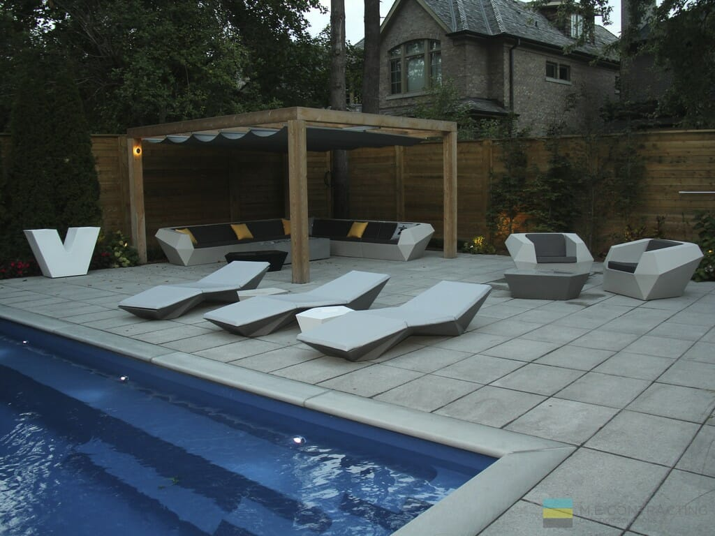 Landscaping, fiberglass pool, cedar fence and pergola, stone patio, M.E. Contracting