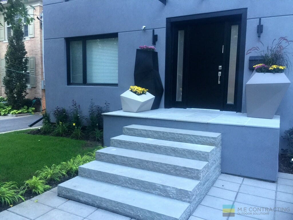 Landscaping, Stone stairs and front porch