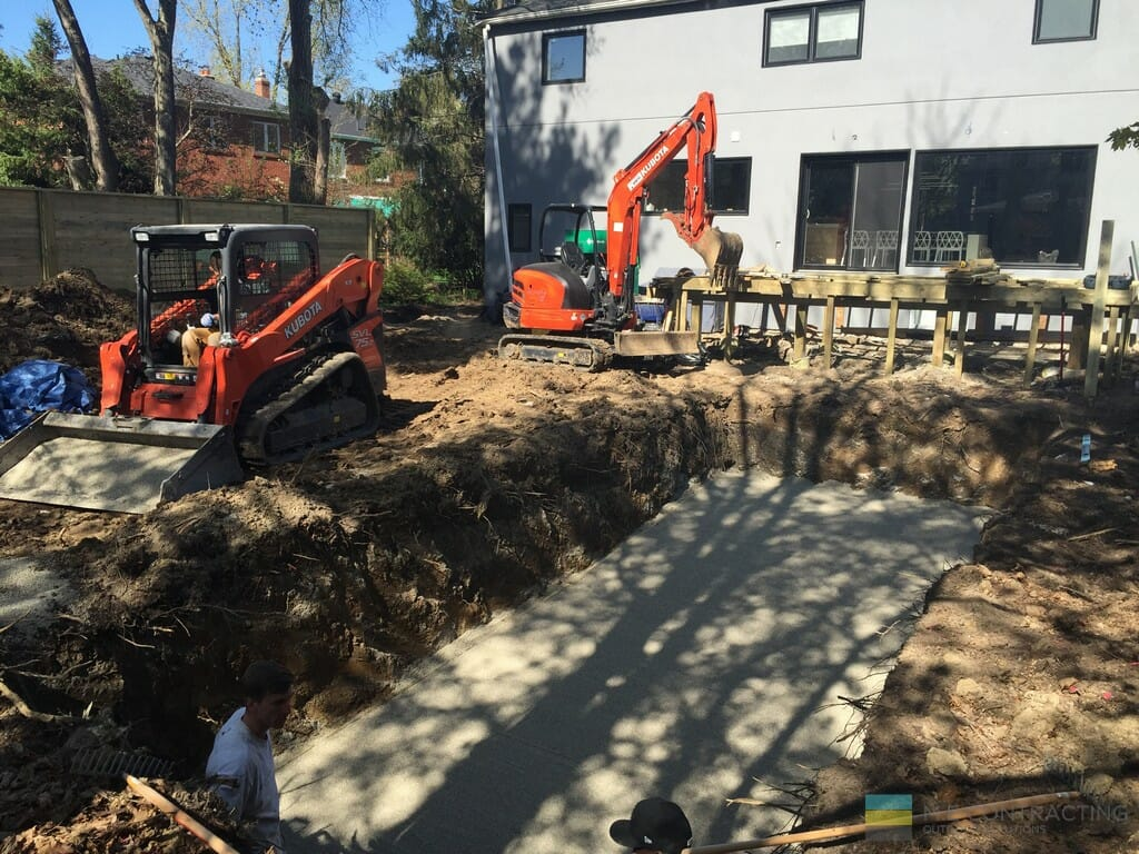 Landscaping with pool installation and woodworking