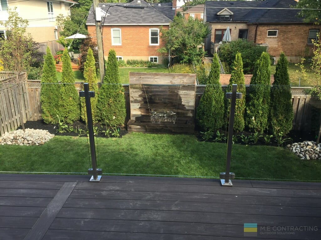 Landscaping, water feature, tempered glass, PVC deck, stainless steel posts and clips