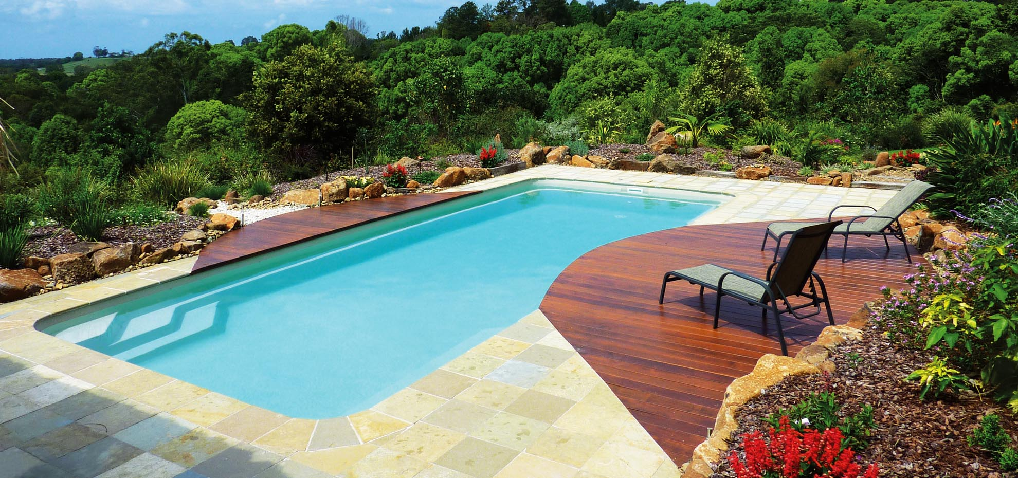 Moroccan Fibreglass pool with coping by Leisure Pools