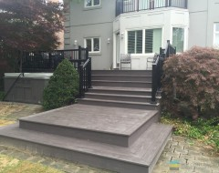 M.E. Contracting , PVC deck, aluminum railings, landscaping, interlocking,