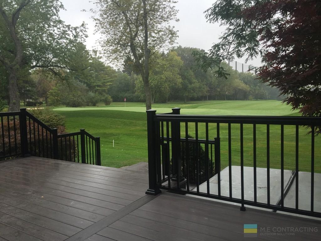 M.E. Contracting, landscaping, interlocking, PVC deck, aluminum railings, hot tub