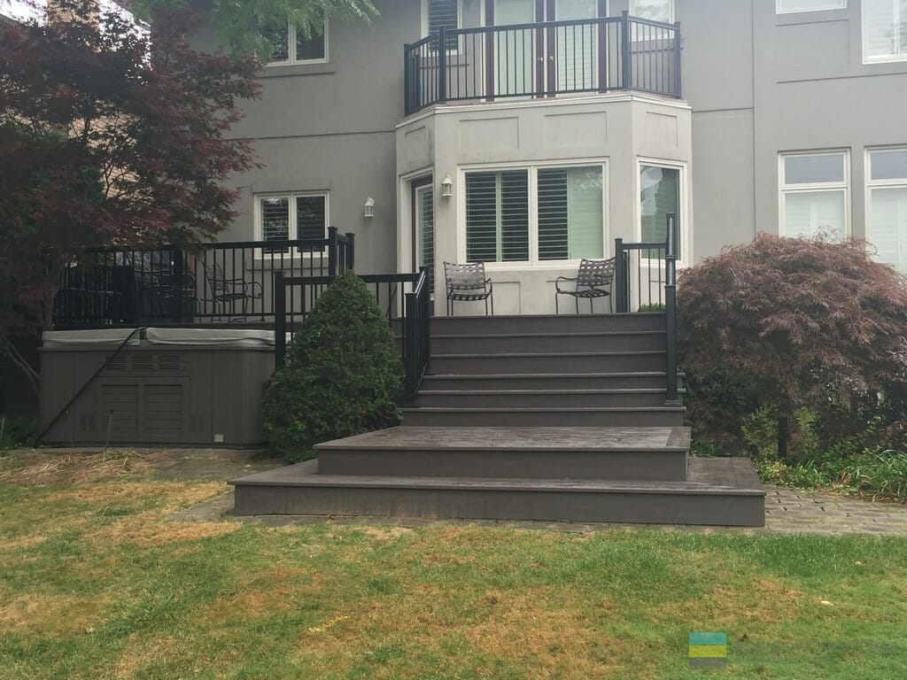 PVC deck, aluminum railings, landscaping, interlocking, hot tub