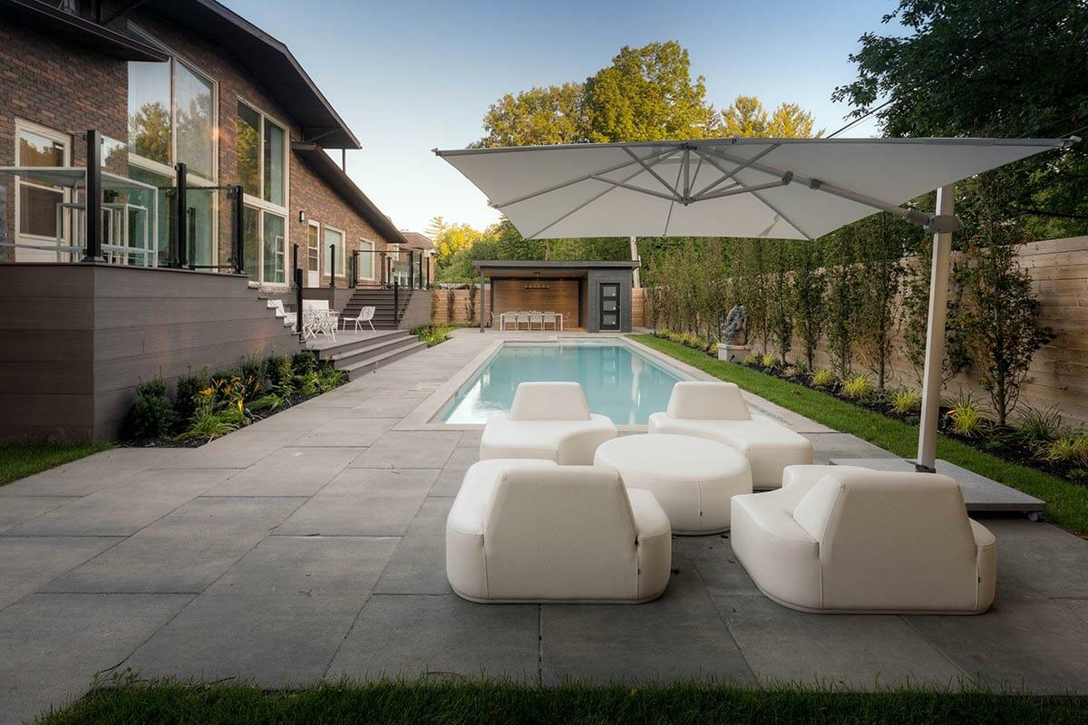 Pheasant Drive Complete Landscape Design Project with Concrete Pool Installation & Gazebo, Interlocking, PVC Decking