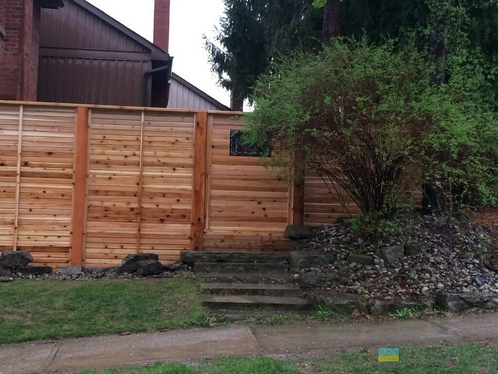 Cedar fence and landscaping