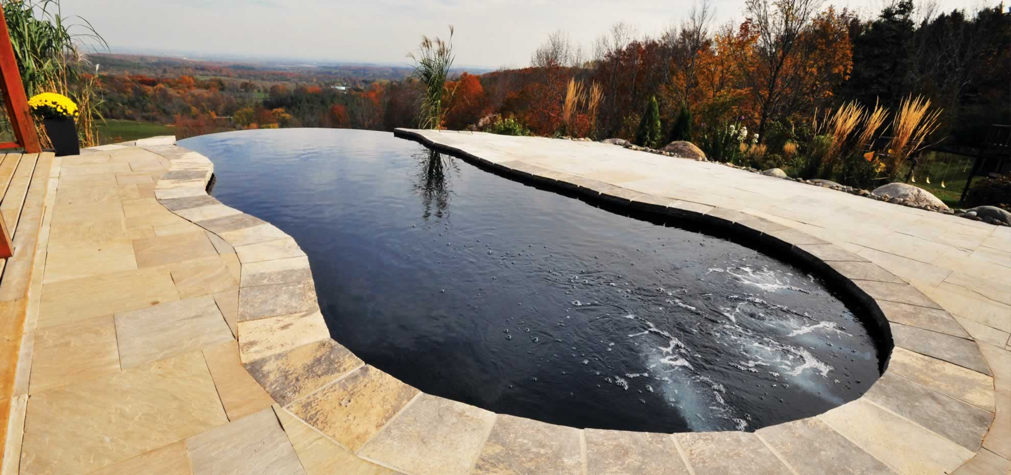 Fiberglass pool with coping by Leisure Pools