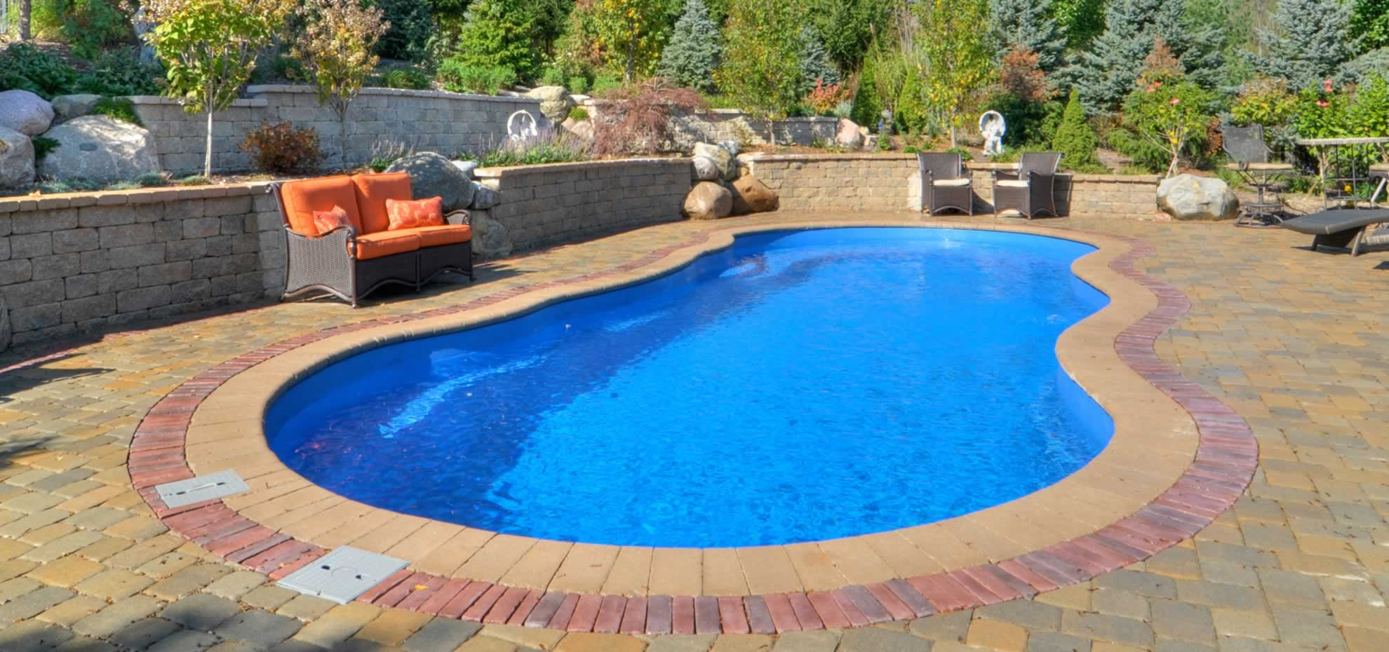 Riviera style Fibreglass pool with coping by Leisure Pools