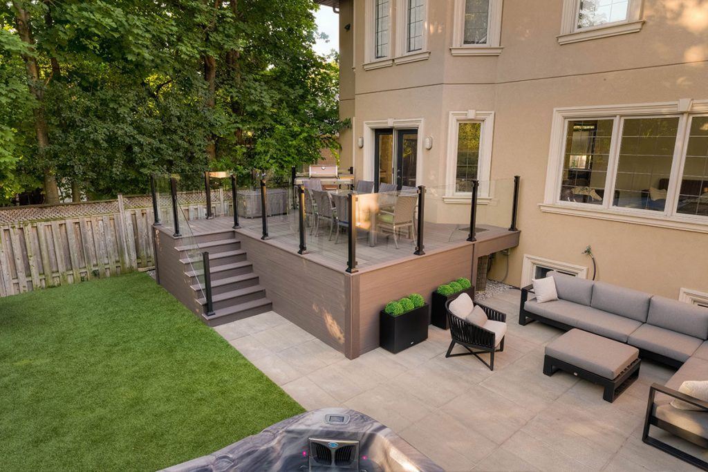 Small Toronto Landscaping Design Project; Featuring Azek Decking & Aluminum Glass Railings