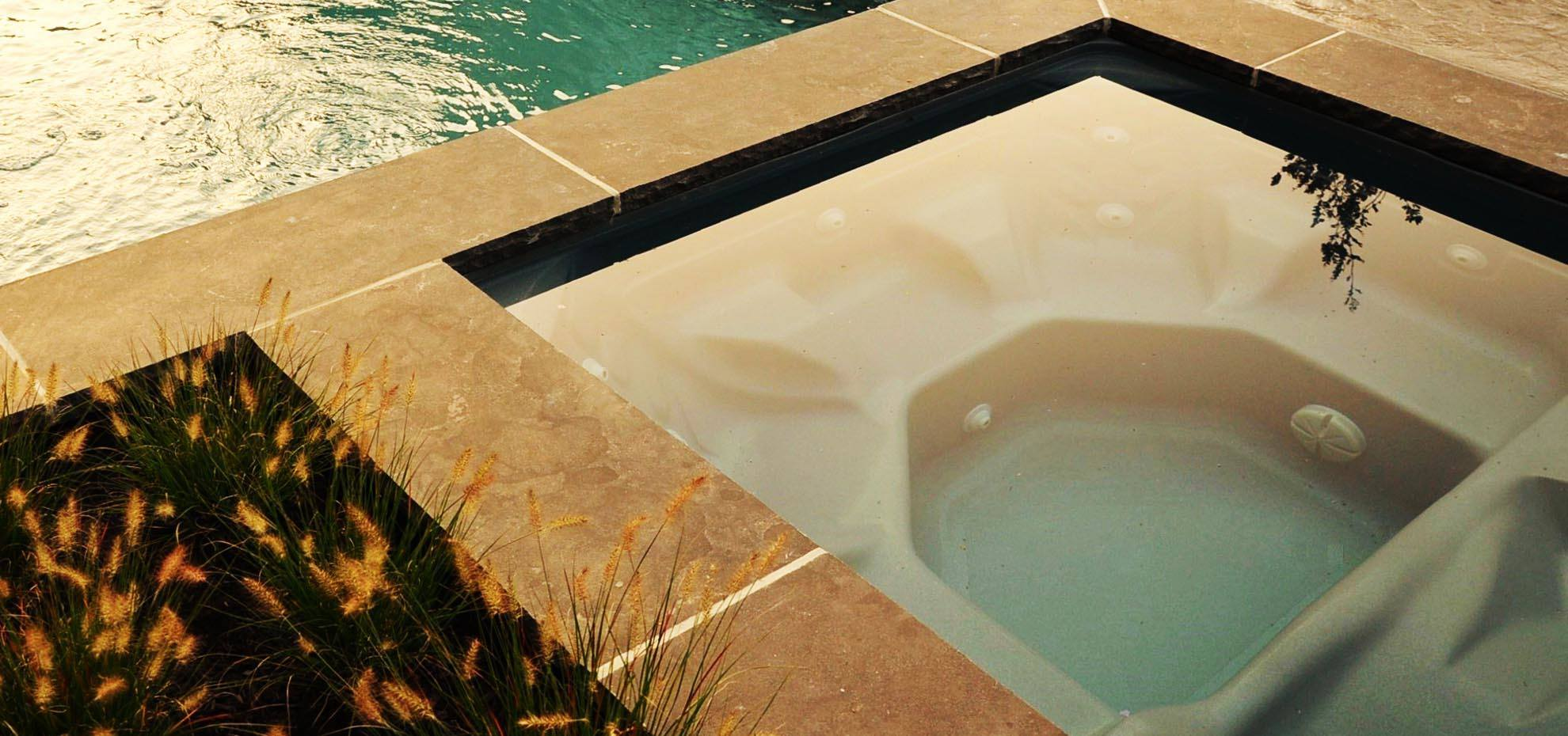Fiberglass with coping by Leisure Pools