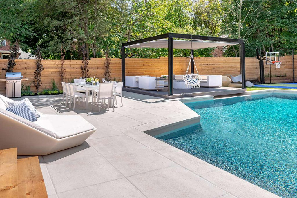 Toronto Landscape Design, Sports Court & Concrete Pool Construction Project