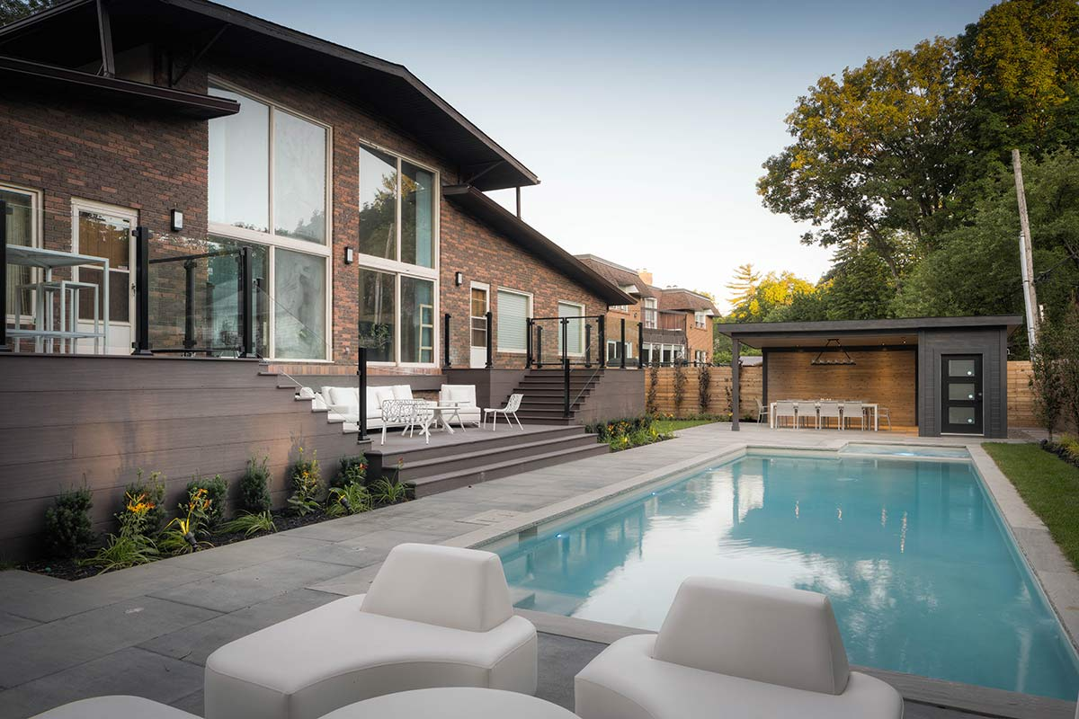 Toronto Landscaping Design on Pheasant Drive; Featuring Concrete Pool, Gazebo, PVC Decking, Interlocking & Privacy Fence