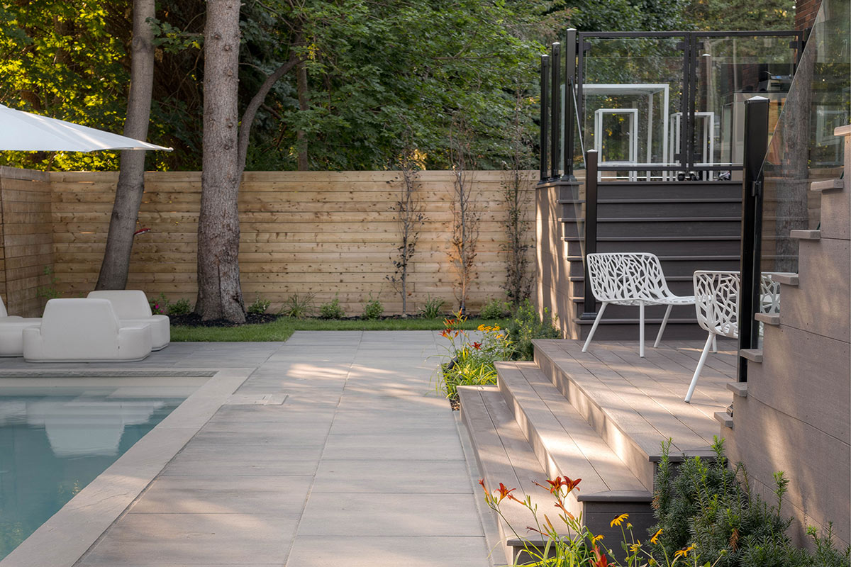 Toronto Landscaping Project, with Complete PVC Decking Construction & Concrete Pool Installation
