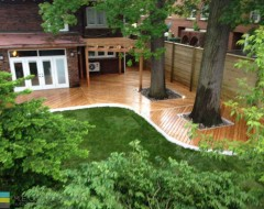 Cedar deck with pergola, gate and horizontal fence