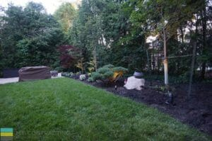 Landscaping, lighting, interlocking patio