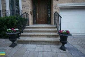 Stone steps, interlocking, wrought iron railings, stone veneer, landscaping