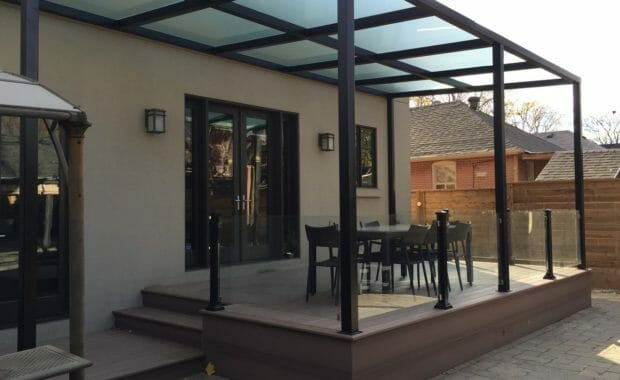 PVC Deck with pergola and glass railings