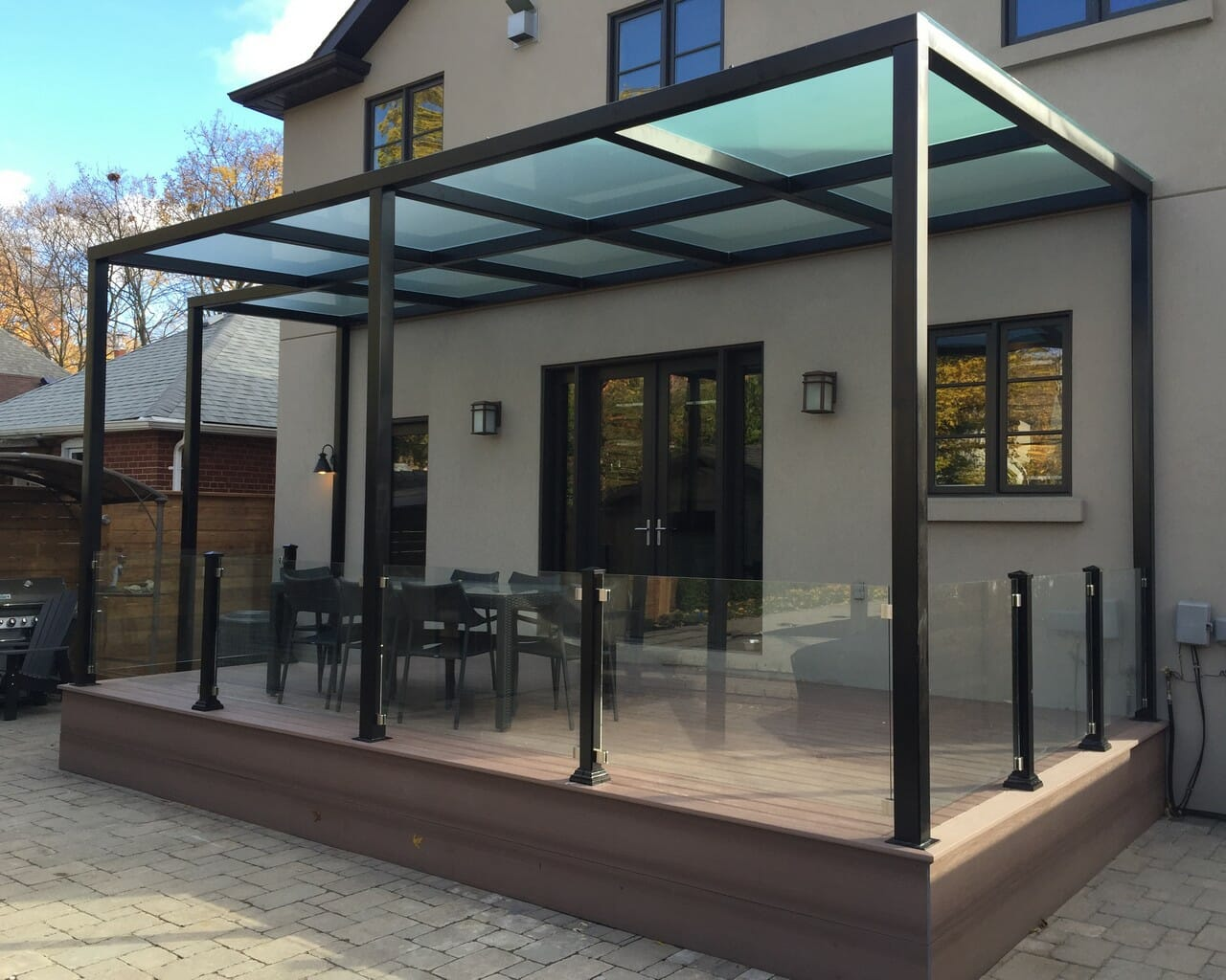 Pvc Deck With Pergola And Glass Railings M E Contracting Toronto Landscaping