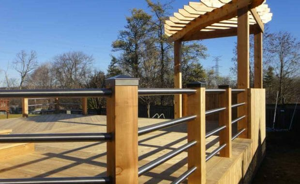 Deck with pergola and stainless steel railings