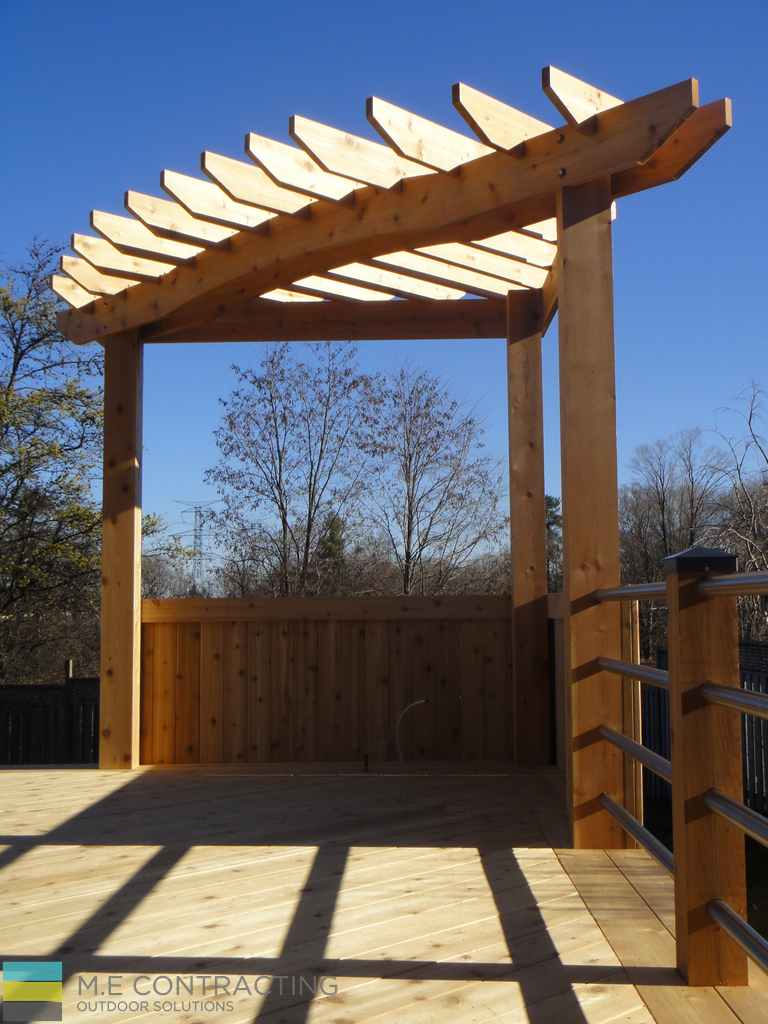 cedar deck and pergola, stainless steel railings