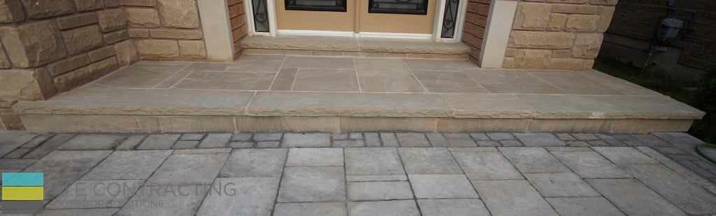 Interlocking, stone front porch