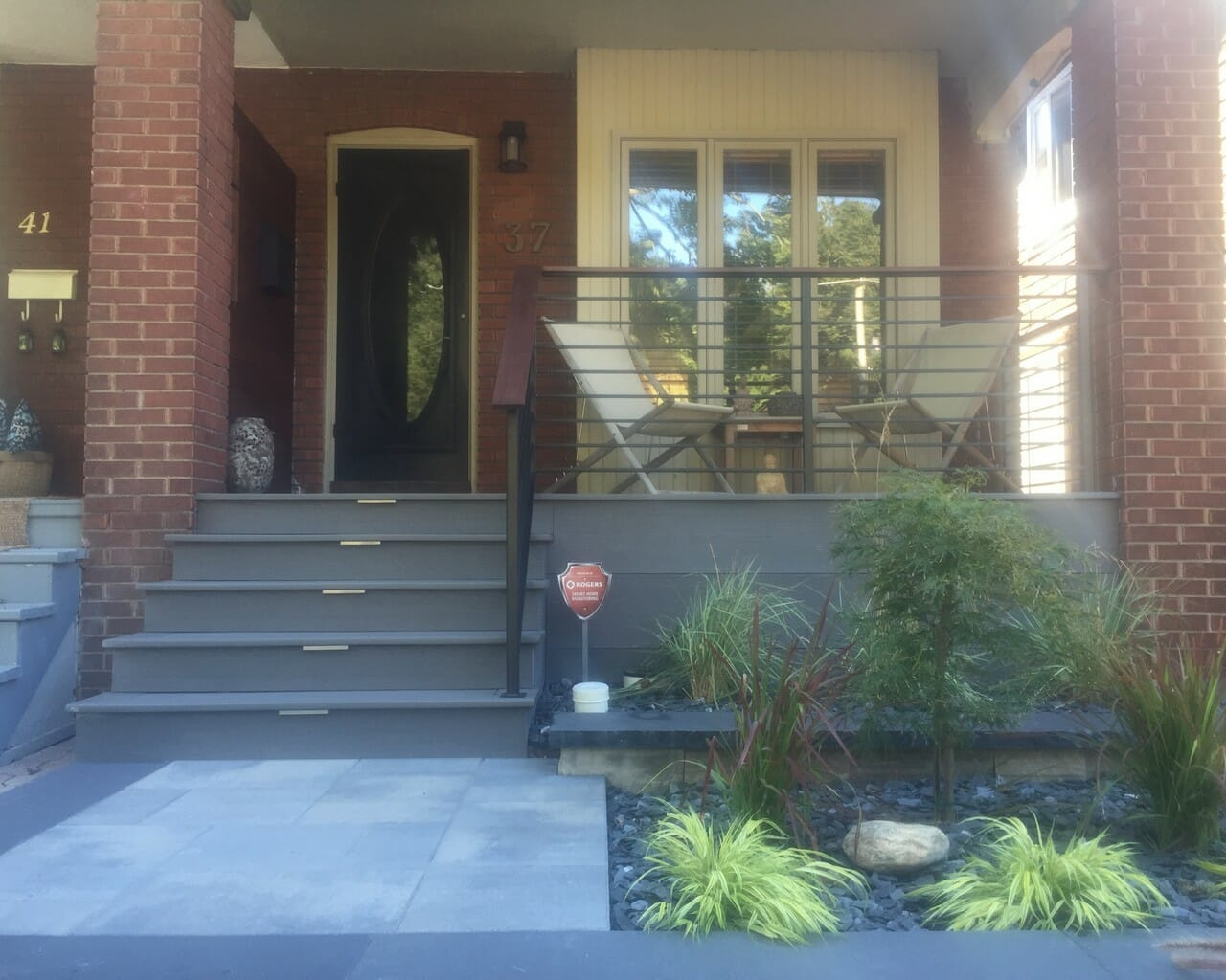 Front Porch Deck And Landscaping With Railings M E