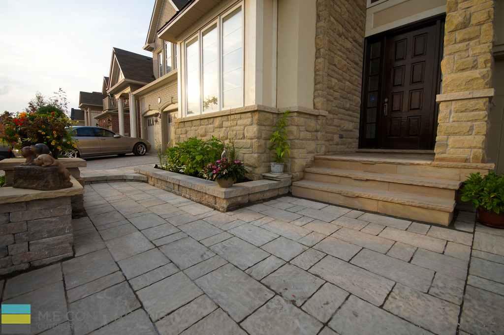 Stone steps, interlocking, stone veneer, walkway, front porch