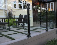 Front Yard Interlocking with Glass Railings