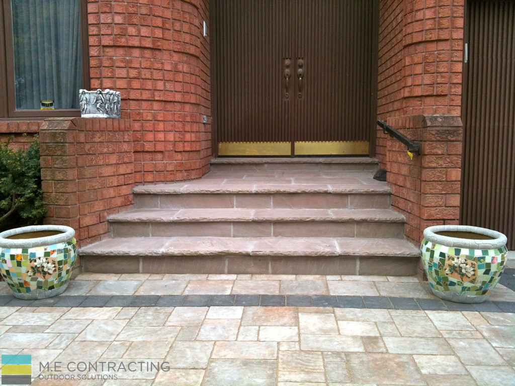 Landscaping, interlocking driveway and walkway, steps, stone porch