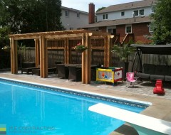 interlocking pool deck cedar pergola