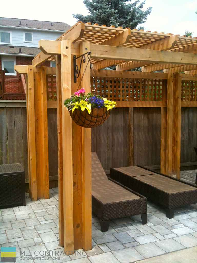 Interlocking Pool Deck Cedar Pergola Toronto Landscaping