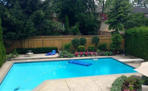 Interlocking Pool Deck with privacy fence
