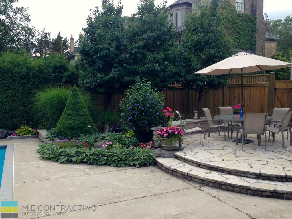 M.E. Contracting, fiberglass pool, landscaping, interlocking, patio, stone veneer, coping flagstone, retaining wall, cedar fence